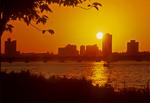 Sunset on Charles River Esplanade, Boston, MA