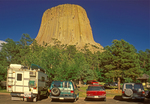 Cars Parked at Devils Tower, America's First National Monument, Black Hills, Devils Tower National Monument, Wyoming