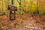 Trail Sign to Lonesome Lake in Autumn, Franconia Notch State Park, White Mountains, New Hampshire