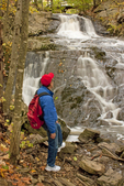 Hiker at Jewell Falls, Fore River Sanctuary, Portland, Maine