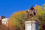 George Washington Statue and Boston Skyline, Boston Public Garden, Boston, Massachusetts