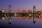 Boston Skyline at Night Reflected in the Charles River, Boston, Massachusetts