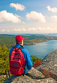 Hiker on Acadia Mountain Viewing Somes Sound and the Atlantic Ocean, Acadia National Park, Mount Desert Island, Maine