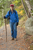 Hiker in Woods on Perpendicular Trail, Mansell Mountain, Acadia National Park, Mount Desert Island, Maine