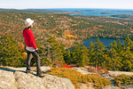Hiker at Viewpoint on Perpendicular Trail Viewing Long Pond, Mansell Mountain, Acadia National Park, Mount Desert Island, Maine