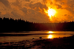 Sunset on Ship Harbor Nature Trail in Autumn, Acadia National Park, Mount Desert Island, Maine
