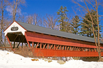 Swift River Covered Bridge in Winter, Historic 19th Century Pedestrian Footbridge, White Mountains, Conway, New Hampshire