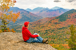 Hiker on the Summit of Baxter Mountain, Adirondack Park, Lake Placid Area, Keene, New York