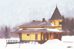 Crawford Depot in Winter, Maine Central Passenger Railway Station, 19th Century, Queen Anne Style Architecture, Crawford Notch State Park, White Mountains, Carroll, New Hampshire