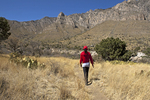Hiker on Devil's Hall Trail, Pine Springs Canyon, Guadalupe Mountains National Park, Texas