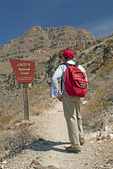 Hiker on Dog Canyon Trail, Oliver Lee Memorial State Park, Lincoln National Forest, Alamorgordo, New Mexico