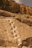 Anasazi Stone Ladder Footholds, Tsankawi Trail, Ancestral Puebloan Ruins, Bandelier National Monument, New Mexico