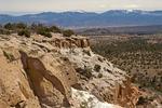Cliffs and Sangre de Cristo Mountains, Tsankawi Trail, Bandelier National Monument, New Mexico