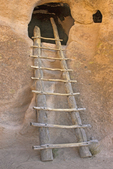 Cliff Dwellings Ladder, Anasazi Puebloan Ruins, Bandelier National Monument, New Mexico