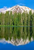 Mount Lassen Reflected in Summit Lake, Lassen Peak, Lassen Volcanic National Park, California