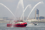 Fireboat in Boston Harbor Spraying Water, Logan Airport, Boston, Massachusetts
