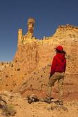 Hiker, Chimney Rock Entrada Sandstone Formation, Ghost Ranch, Abiquiu, New Mexico