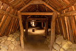 Interior of Miwok Ceremonial Roundhouse, Miwok Village, Indian Village of the Ahwahnee, Yosemite Valley, Yosemite National Park, California