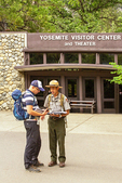Ranger and Tourist at Visitor Center, Yosemite Valley, Yosemite National Park, California