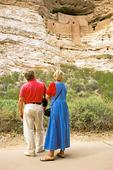 People Viewing Montezuma Castle National Monument, Sinaguan Ancestral Puebloan Ruin, Camp Verde, Arizona