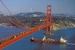 Golden Gate Bridge and Tanker, San Francisco, California