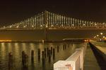 Bay Bridge from the Embarcadero at Night, San Francisco–Oakland Bay Bridge at Night, Emperor Norton Bridge, Interstate 80, San Francisco Bay, California
