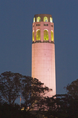 Coit Tower on Telegraph Hill in Pioneer Park at Night, San Francisco, California