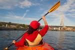 Kayaking on the Charles River, Zakim Bridge, Boston Cambridge, Massachusetts