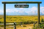 Cunningham Cabin Sign, Bar Flying U Ranch, Teton Mountain Range, Grand Teton National Park, Wyoming