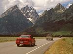 Road into Grand Teton National Park, Teton Mountain Range, Jackson Hole, Wyoming