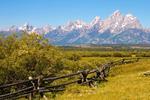 Wooden Fence, Teton Mountain Range, Grand Teton National Park, Wyoming