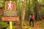 Hiker on the Deer Hills Trail, Evans Notch, White Mountains, New Hampshire