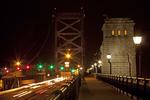 Ben Frankling Bridge at Night, Steel Suspension Bridge, Philadelphia, Pennsylvania