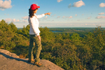 Hiker at Blue Hills Summit, Milton, Massachusetts