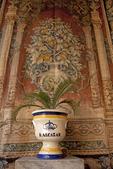Flower Pot and Tapestry, Salones de Carlos V, Royal Palace Alcazar, Sevilla, Andalucia, Spain