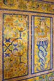 Tile dado by Cristóbal de Augustan, Gothic Hall Room of the Vaults, Salones de Carlos V, Royal Palace Alcazar, Sevilla, Andalucia, Spain