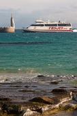 Ferry and Statue of Jesus, Tarifa Morocco Ferry, Tarifa Harbor, Andalucia, Spain