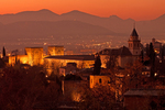 View of The Alhambra and Granada at Night, Sierra Nevada Mountains, Granada, Andalucia, Spain