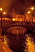 Bridge Over Moat at Night, Plaza de Espana, Renaissance Revival Architecture, Maria Luisa Park, Sevilla, Seville, Andalucia, Spain