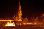 Tower and Fountain at Night, Plaza de Espana, Renaissance Revival Architecture, Maria Luisa Park, Sevilla, Seville, Andalucia, Spain