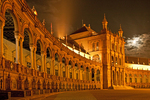 Exposition Building at Night, Plaza de Espana, Renaissance Revival Architecture, Maria Luisa Park, Sevilla, Seville, Andalucia, Spain