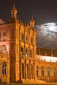 Exposition Building at Night, Plaza de Espana, Renaissance Revival architecture, Maria Luisa Park, Sevilla, Seville, Spain