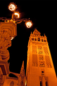 La Giralda at Night, Bell Tower for the Cathedral of Seville, 12th Century Moorish Architecture, Sevilla, Andalucia, Spain