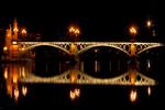 Bridge Reflected in Guadalquivir River at Night, Sevilla, Seville, Andalucia, Spain