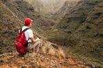 Hiker on Trail to Chinamada, Anaga Mountains, Island of Tenerife, Canary Islands, Spain