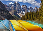 Canoeing on Moraine Lake, Canadian Rockies, Banff National Park, Alberta, Canada
