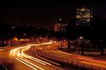Driving on Storrow Drive at Night, Boston, Massachusetts