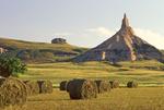 Hay Bales and Chimney Rock, Chimney Rock National Historic Site, Oregon Trail, Nebraska