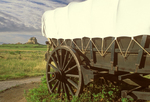 Conestoga Wagon and Dome Rock, Oregon National Historic Trail, Scottsbluff National Monument, Nebraska
