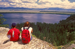 Kids at Inspiration Point, Jenny Lake, Cascade Canyon Trail, Grand Teton National Park, Wyoming